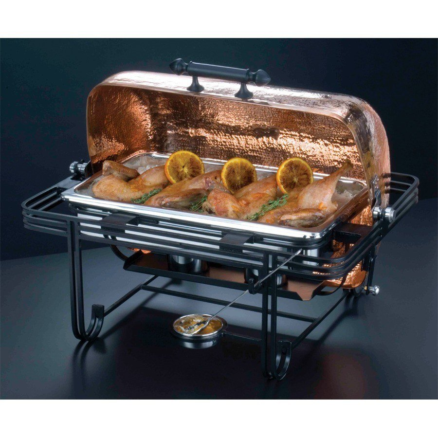 Chafer 8 Qt Rectangular Roll Top With Hammered Copper Cover