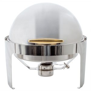 Choice-Supreme-6-1-2-Qt.-Round-Stainless-Steel-Roll-Top-Chafer-with-Gold-Trim.jpg