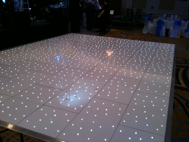 Dance Floor Acrylic White Star Struck Silver Trim Gala