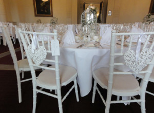 Heart decorations on Chiavari Chairs