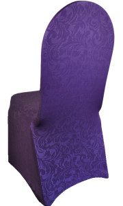 Embossed Vintage Spandex Chair Cover - Eggplant