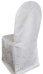 Jacquard Damask Polyester Banquet Chair Covers - White