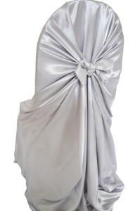 Satin Universal Self Tie Chair Cover - Platinum