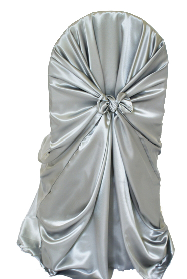 satin universal self tie chair cover - silver - gala rentals
