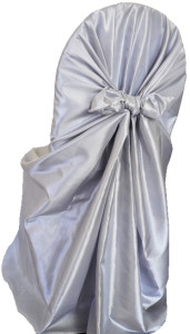 Taffeta Universal Self Tie Chair Cover - Platinum