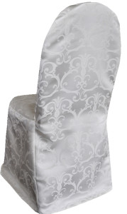 Versailles Chopin Damask Jacquard Polyester Banquet Chair Cover - Ivory
