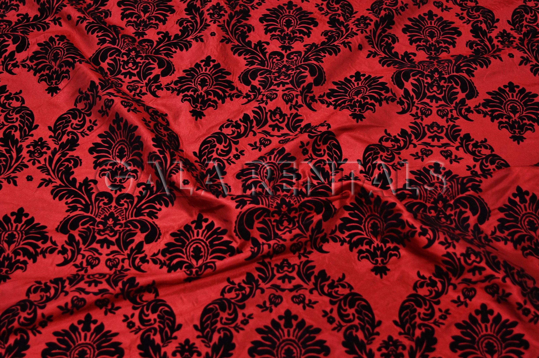Damask Flocking Taffeta Tablecloth Black On Red